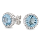 Image for Round Shaped Aquamarine & Diamond Cluster Earrings