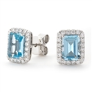 Image for Emerald Shaped Aquamarine & Diamond Cluster Earrings