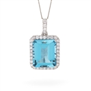 Image for Emerald Shaped Aquamarine & Diamond Pendant