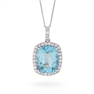 Image for Cushion Shaped Aquamarine & Diamond Pendant