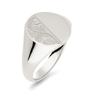 Gents Oval Patterned Signet Ring