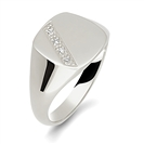 Image for Round Diamond Gents Cushion Signet Ring