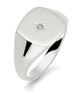 Round Diamond Gents Cushion Signet Ring