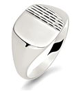 Gents Cushion Patterned Signet Ring