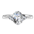 Oval Diamond Side Stone Cluster Ring