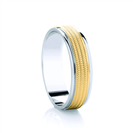 Image for 6mm Two Tone Patterned Wedding Ring