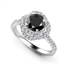 Round Black Diamond Halo Set Ring