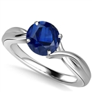 Classic Round Blue Sapphire Solitaire Ring