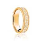 6mm Two Tone Patterned Wedding Ring