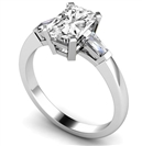 Image for Elegant Radiant & Baguette Diamond Trilogy Ring
