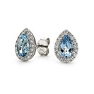 Image for Pear Shaped Aquamarine & Diamond Cluster Earrings