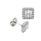 Princess Diamond Single Halo Earrings