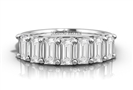 7 Stone Emerald Diamond Half Eternity Ring