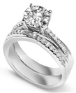 Image for Round Diamond Shoulder Set Ring With Matching Band