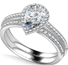 Pear Diamond Shoulder Set Ring With Matching Band