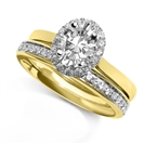 Image for Oval Halo Engagement Ring With Matching Wedding Band