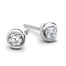 Rosebud Round Diamond Stud Earrings
