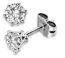 6 Claw Round Diamond Stud Earrings