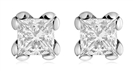 0.60CT SI1/ FG Princess Diamond Stud Earrings