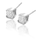 Image for Semi Bezel Set Princess Cut Diamond Stud Earrings