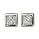 Image for Bezel Set Princess Diamond Stud Earrings
