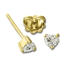 Image for Three Claw Heart Shape Diamond Stud Earrings