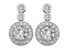 Image for Round Diamond Cluster Drop Earrings