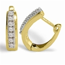 Image for Single Line Diamond Hoop Earrings
