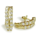 Image for Double Row Round Diamond Hoop Earrings