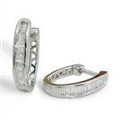 Image for Modern Baguette Diamond Hoop Earrings