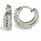 Image for Two Row Round Diamond Hoop Earrings