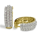 Image for Triple Row Round Diamond Hoop Earrings