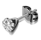 Image for Unique Three Prong Round Diamond Single Stud Earring