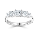 5 Stone Princess Diamond Half Eternity Ring