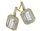 Image for Emerald Diamond Single Halo Earrings