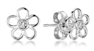 Flower Shaped Round Diamond Set Earrings
