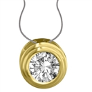 Image for Unique Rubover Round Diamond Pendant