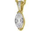 Image for Modern Marquise & Round Diamond Solitaire Pendant