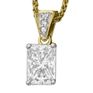 Image for Modern Emerald & Round Diamond Pendant