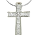 Image for Round and Baguette Diamond Cross Pendant