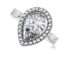 Image for Modern Pear Diamond Single Halo Ring