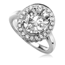 0.80CT VS1/F Oval/Round Diamond Halo Ring