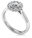 Round Diamond Single Halo Ring