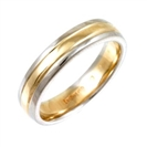 4mm Two Tone Court Shape Wedding Ring