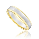 5mm Two Tone D Shape Wedding Ring