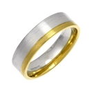 6mm Flat Court Shape Two Tone Wedding Ring With Matt Finish