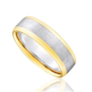 6mm Two Tone Court Shape Wedding Ring