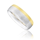 Image for 6mm Two Tone Court Shape Wedding Ring