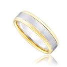 Image for 6.5mm Two Tone Court Shape Wedding Ring