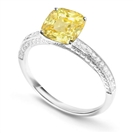 Image for Fancy Yellow Cushion Diamond Vintage Shoulder Set Ring